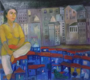 landscape of life by Aradhna Tandon, Expressionism Painting, Acrylic on Canvas, Mid Gray color