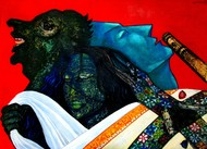 Draupadi Disrobed-Draped by Caesar Das, Expressionism Painting, Mixed Media on Paper, Red color