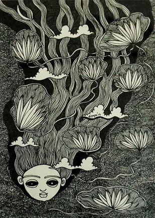 Meghbalika III by Dipayan Lodh, Illustration Painting, Ink on Paper, Kangaroo color