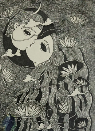 Meghbalika V by Dipayan Lodh, Illustration Painting, Ink on Paper, Kelp color