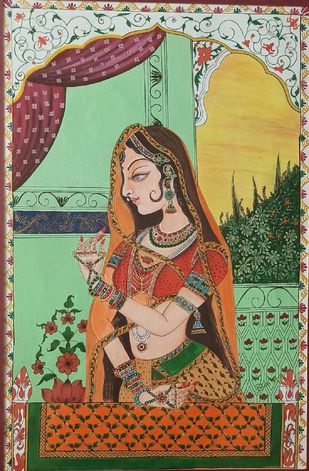 Indian Miniature Series by Bhavana Saxena, Traditional Painting, Watercolor on Paper, Red color