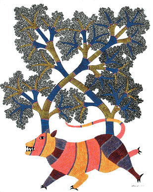 Gond Painting by Unknown Artist, Tribal Painting, Acrylic on Canvas, Red color