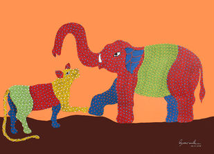 Gond Painting by Unknown Artist, Tribal Painting, Acrylic on Paper, Sandy brown color
