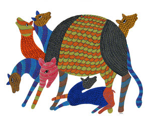 Gond Painting by Unknown Artist, Tribal Painting, Acrylic on Canvas, Tuna color