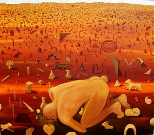 Searching for the Roots by Sunil Lohar, Conceptual Painting, Acrylic on Canvas, Ochre color