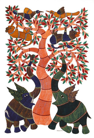 Gond Painting by Unknown Artist, Tribal Painting, Acrylic on Canvas,