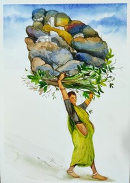 Our Piece of Land by Sunil Lohar, Impressionism Painting, Watercolor on Paper, Gray Asparagus color