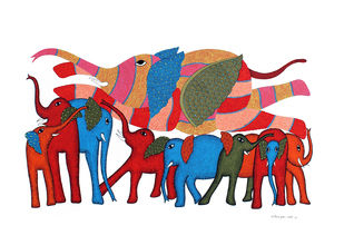 Gond Painting by Unknown Artist, Tribal Painting, Acrylic on Paper, Well Read color