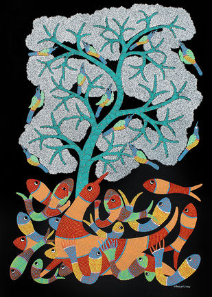 Gond Painting by Unknown Artist, Tribal Painting, Acrylic on Paper,
