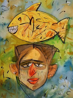 Glowing yellow fish. by Ajin K Kooper , Abstract Painting, Watercolor on Paper, Dirt color