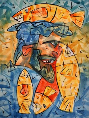 Joy of the fisherman. by Ajin K Kooper , Expressionism Painting, Watercolor on Paper, Raw Sienna color