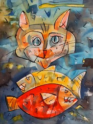 Fish keeper. by Ajin K Kooper , Expressionism Painting, Watercolor on Paper, Emperor color