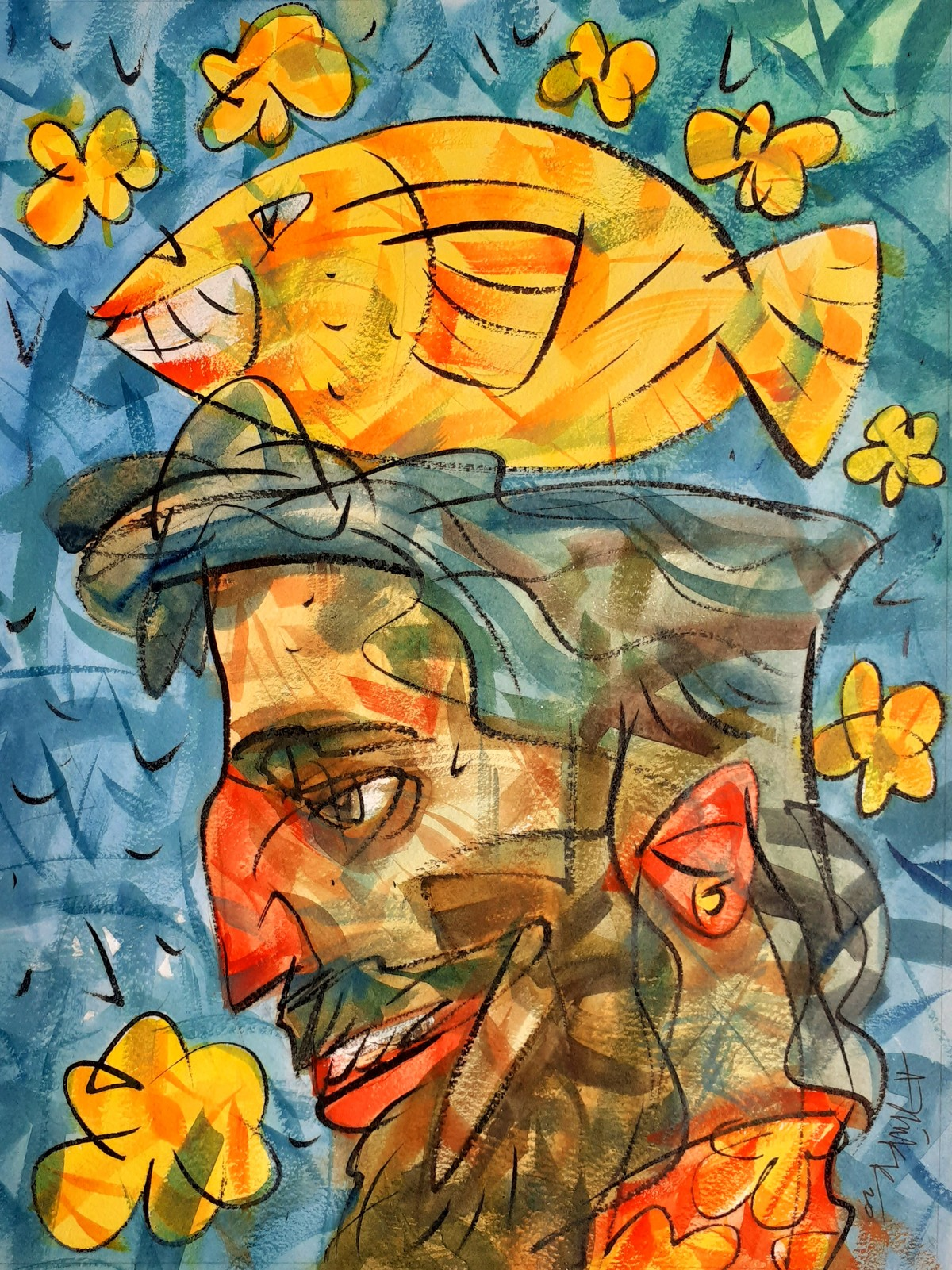 Goldfish. by Ajin K Kooper , Expressionism Painting, Watercolor on Paper, Tussock color