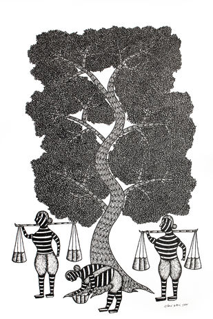 Gond Painting by Unknown Artist, Tribal Painting, Acrylic & Ink on Canvas,