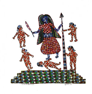 Gond Painting by Unknown Artist, Tribal Painting, Acrylic on Canvas, Bizarre color
