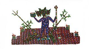 Gond Painting by Unknown Artist, Tribal Painting, Acrylic on Canvas, Pearl Bush color