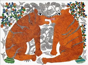 Gond Painting by Unknown Artist, Tribal Painting, Acrylic on Canvas, Desert color