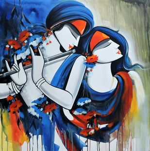 tune of love3 by pradeesh k raman, Traditional Painting, Acrylic on Canvas, Sisal color