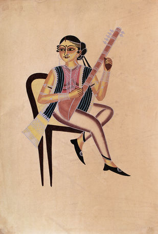 Kalighat painting by Unknown Artist, Folk Painting, Watercolor on Paper, Cameo color