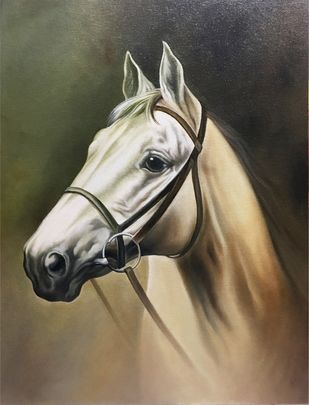 Horse Portrait by Augustine Devotta, Realism Painting, Canvas on Board, Armadillo color