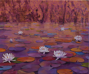 Lily pond 17 by Sulakshana Dharmadhikari, Expressionism Painting, Oil on Canvas, Orchid Pearl color
