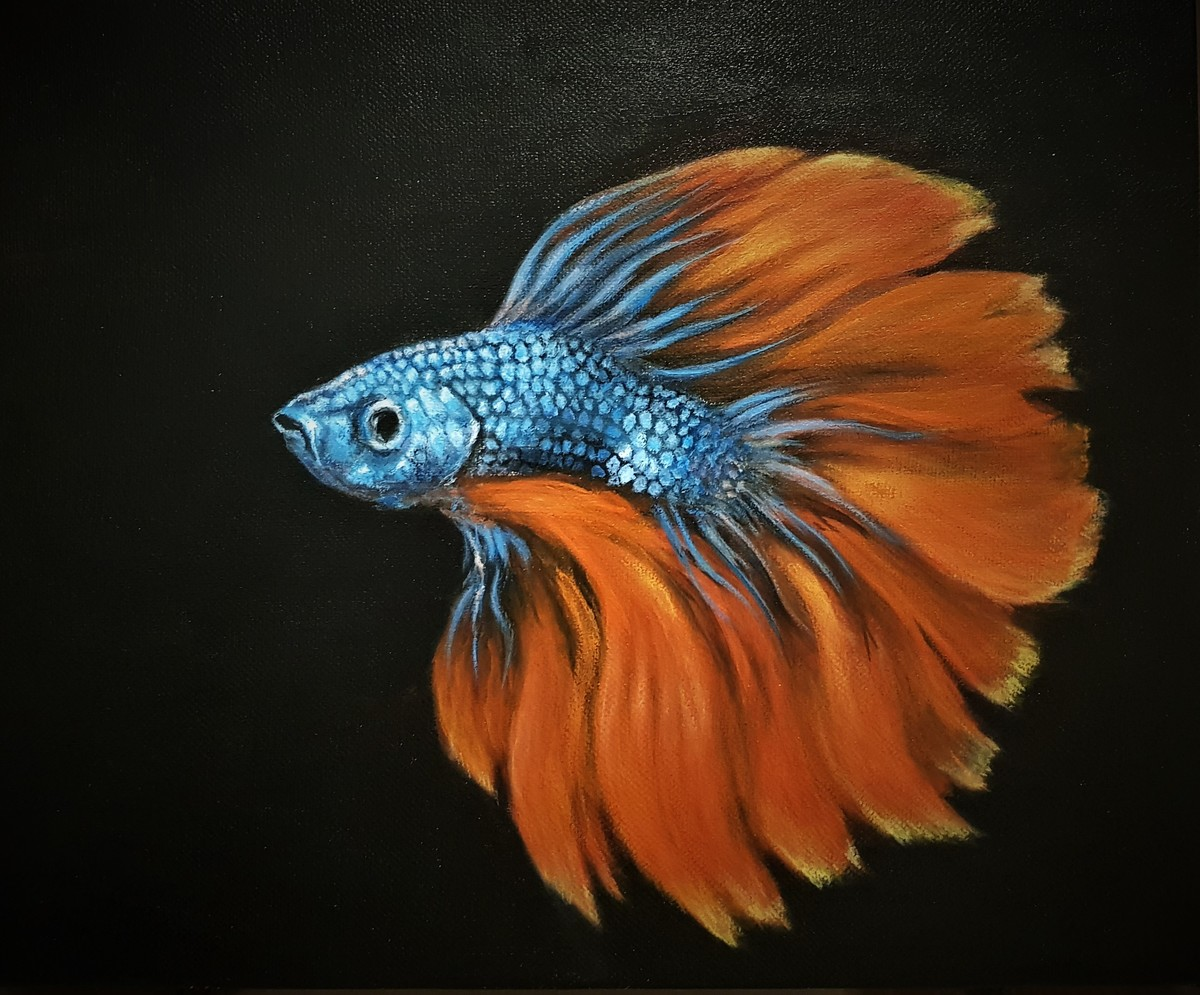 BETA FISH by SANOOP KOSHY ZACHARIAH, Impressionism Painting, Acrylic on Canvas, Rangoon Green color