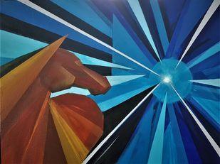 RAYS OF HOPE by SANOOP KOSHY ZACHARIAH, Geometrical Painting, Acrylic on Canvas, Matterhorn color