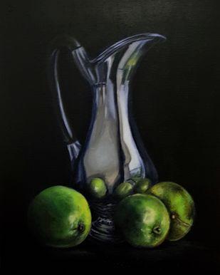 JUG AND ORANGES by SANOOP KOSHY ZACHARIAH, Impressionism Painting, Acrylic on Canvas, Rangoon Green color
