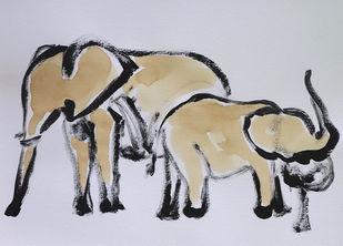 elephant 95 Digital Print by Santhosh CH,Impressionism