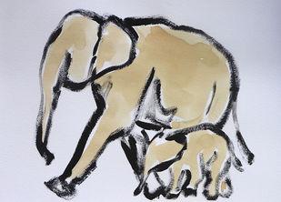 Elephant 104 Digital Print by Santhosh CH,Impressionism