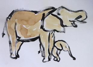 Elephant 107 Digital Print by Santhosh CH,Impressionism