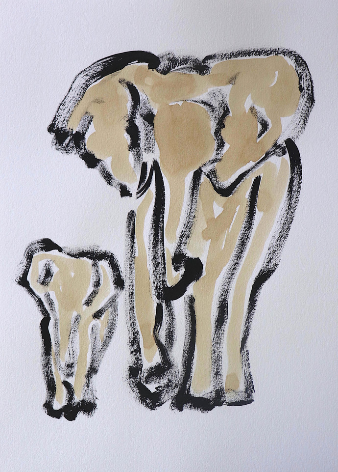 Elephant 112 Digital Print by Santhosh CH,Illustration