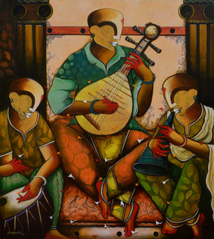 the musical band 15 by anupam pal, Expressionism Painting, Acrylic on Canvas, Muddy Waters color