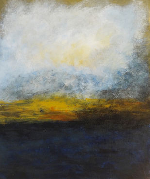 Abstract Landscape by Indrani Ghosh, Abstract Painting, Acrylic on Canvas, Kangaroo color