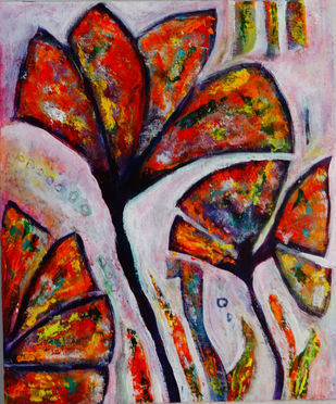 Abstract Floral by Indrani Ghosh, Abstract Painting, Acrylic on Canvas, Thunder color
