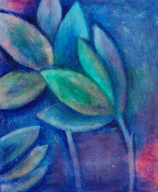 Floral by Indrani Ghosh, Abstract Painting, Acrylic on Canvas, Chambray color