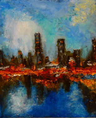 Abstract Landscape by Indrani Ghosh, Expressionism Painting, Acrylic on Canvas, Shark color