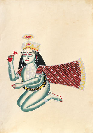 Kalighat painting by Unknown Artist, Folk Painting, Watercolor on Paper, Albescent White color