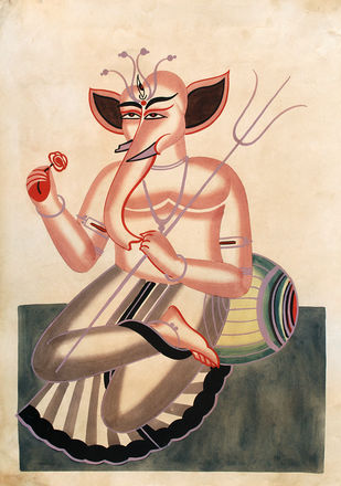 Kalighat painting by Unknown Artist, Folk Painting, Watercolor on Paper, Chamois color