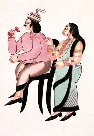 Kalighat painting by Unknown Artist, Folk Painting, Watercolor on Paper, Dawn Pink color