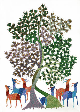 Gond Painting by Unknown Artist, Folk Painting, Acrylic on Paper,
