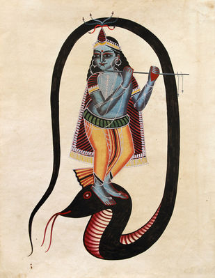 Kalighat painting by Unknown Artist, Folk Painting, Watercolor on Paper, Cocoa Brown color