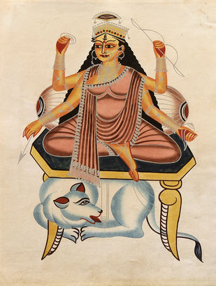 Kalighat painting by Unknown Artist, Folk Painting, Watercolor on Paper, Orange color