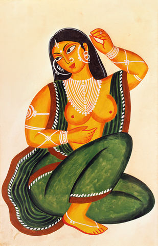 Kalighat painting by Unknown Artist, Folk Painting, Watercolor on Paper, Kelp color