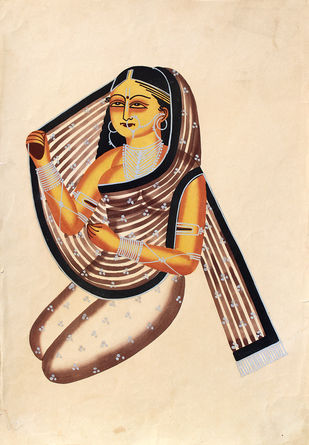 Kalighat painting by Unknown Artist, Folk Painting, Watercolor on Paper,