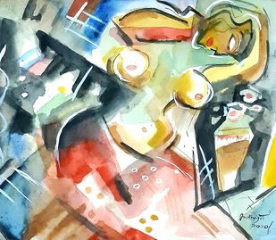 woman with flower vase by Judhajit Sengupta, Expressionism Painting, Watercolor & Ink on Paper, Limed Spruce color