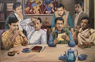 Half dozen Felu da by Rajkumar Sarkar, Fantasy Painting, Acrylic on Canvas, Sand Dune color