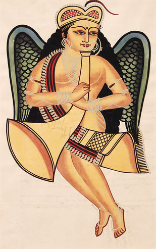 Kalighat painting by Unknown Artist, Folk Painting, Watercolor on Paper, Almond color