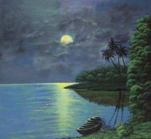 Moonlit Night by SUDARSHAN GOSWAMI, Impressionism Painting, Acrylic on Board, Horizon color