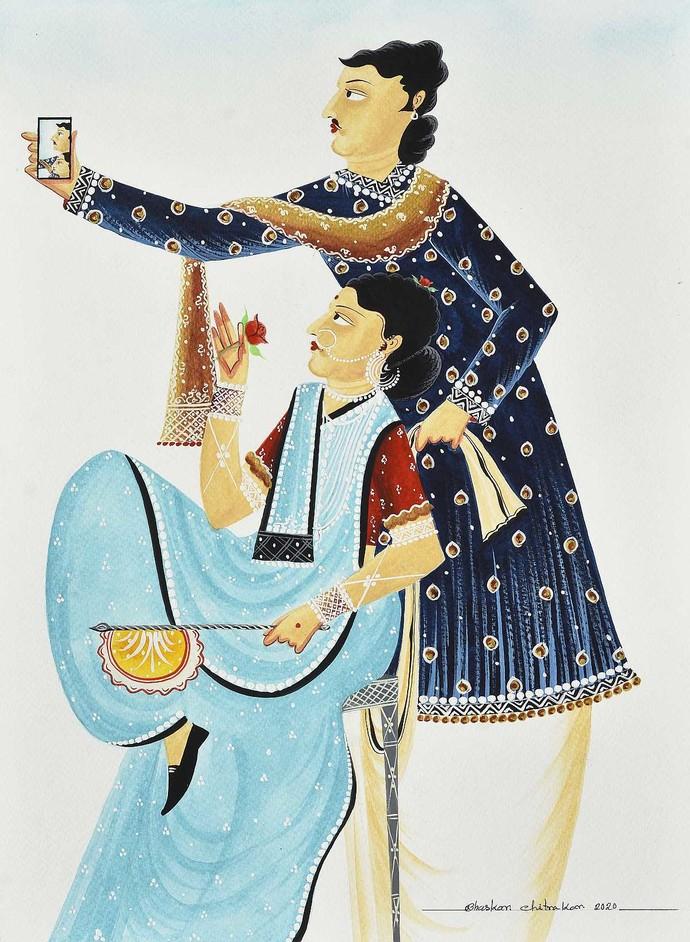 Babu-Bibi taking a sitting 'selfie' by Bhaskar Chitrakar, Folk Painting, Natural colours on paper, Gray Nickel color